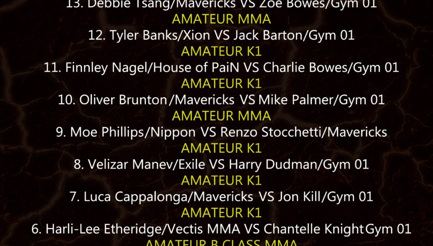 Contenders 4 Fight Card and Running Order – Saturday February 9th